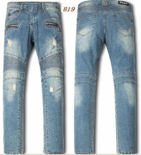 Lingswallow Mens Casual Blue Letter Print Slim Stright Denim Jeans Jogger Pants