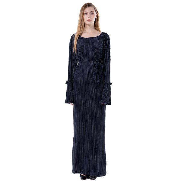 Islamique Islamique Maxi Robe Vêtements Arabes Dubai Style Noir Abaya Jilbab Sukienka Damska Plus La Taille # M3Y5