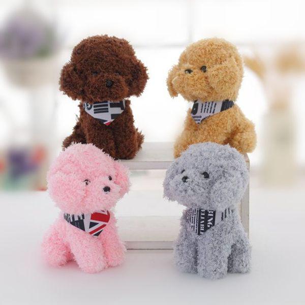 18CM Cartoon Scarf Teddy Dog Plush Stuffed Dolls For Children Pink Gray Brown Cute Fun Animal Soft Toy Kid Appease Sleeping Doll