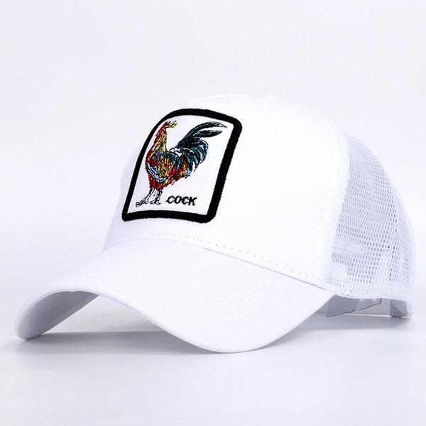 Breathable Mesh Baseball Caps Rooster Embroidery Hats Men Snapback Bones Fashion Streetwear Cock Trucker Cap Women