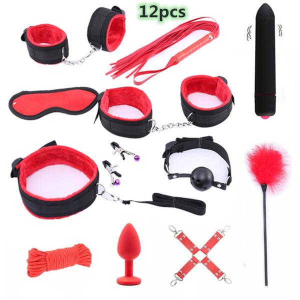 Sex Toys For Women Accessori esotici in pelle Bdsm Sex Bondage Set Porno Mani Prodotti del sesso Whip Gag Corda Adulti Giochi Sm J190629