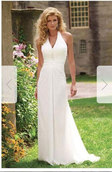 Sheath/Column Halter Sweep/Brush Train Chiffon Wedding Dress kk