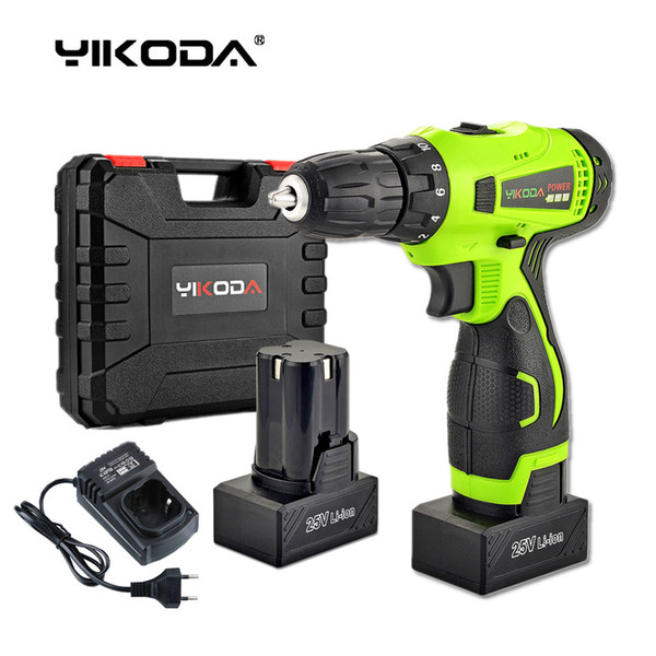 top popular 25V Cordless Drill Battery Electric Screwdriver Home DIY Room Decoration Rechargeable Electric Drill Two Lithium Battery Plastic Case 2021