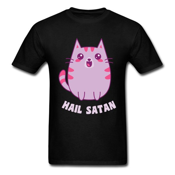 Kawaii Satanic Cat Cotton Crazy Tops Camicie Retro T-shirt manica corta da uomo Casual Ostern Day Felpe O Neck Joggers