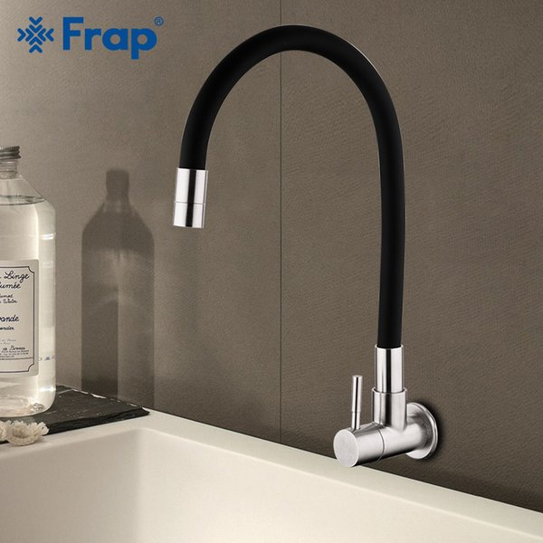 Frap Wall Mounted Kitchen Faucet 304 Stainless Steel Single Handle Single Hole Water mixer Cold Water Mixer Tap Y40099