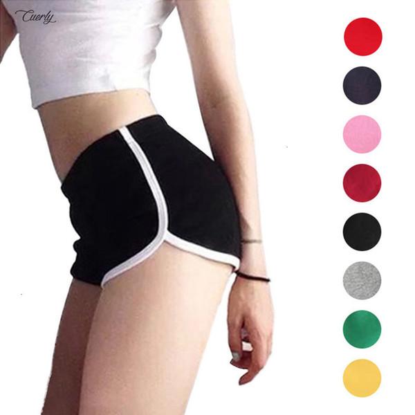 Nuevo verano mujeres de los cortocircuitos del entrenamiento de la pretina de los pantalones ocasionales de fitness flaco cortos el elástico de la cintura Ejecución de algodón corto atractivo