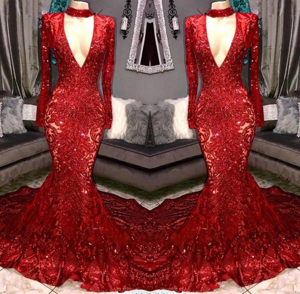 Gorgeous Sexy Red Sequined 2019 vestidos de baile con cuello en v manga larga sirena vestidos de noche vestido para las mujeres vestido de fiesta brillante vestido de gala