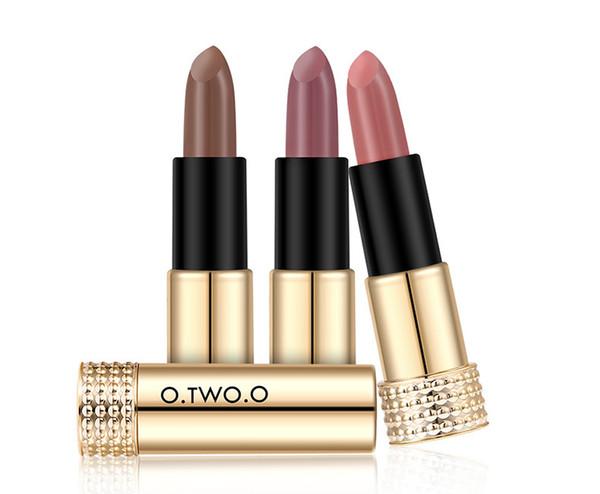 O.TWO.O Beauty Makeup Winter New 12 Colors Lipstick Matte Long Lasting Waterproof Lip Gloss Cosmetics Lip Make Up Gold Tube Series N9109