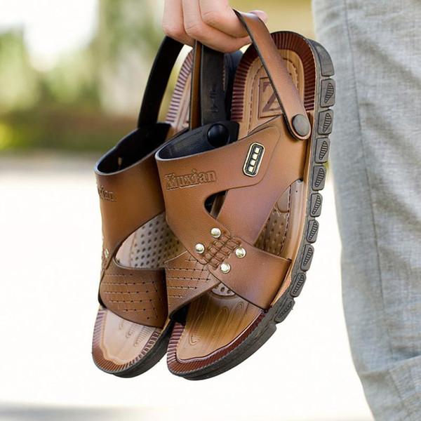 Erkekler Sandalet Yaz Rahat Deri Masaj Çevirme Düz Ayak Bileği Yaz Konfor Havuzu Plaj Terlik Gladyatör Erkek Boyutu 40-44