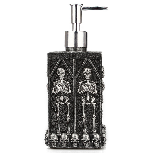 Distributeur de savon squelette crâne, bouteilles de désinfectant pour les mains vides de 460 ml avec pompe à lotion en résine, distributeur de savon pour les mains Fantôme Festival Home Decor