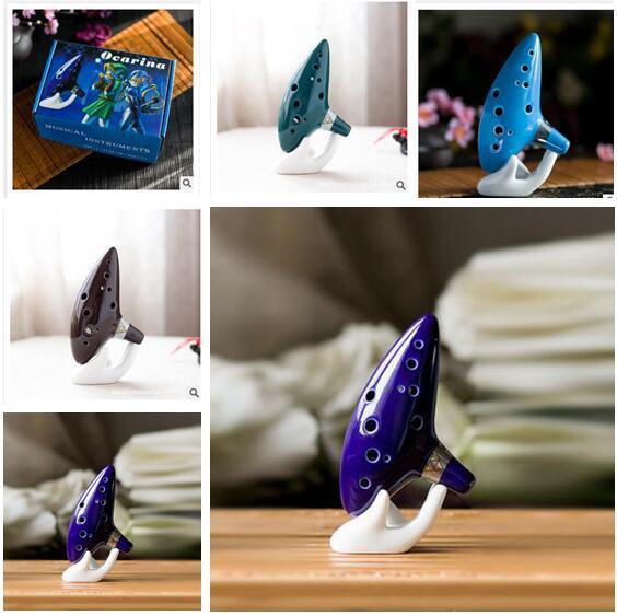 best selling Classical Musical Instrument Ceramic Ocarina 12 Hole Kiln-fired Ceramic Alto C Legend of Zelda Ocarina Flute with box free shippiing