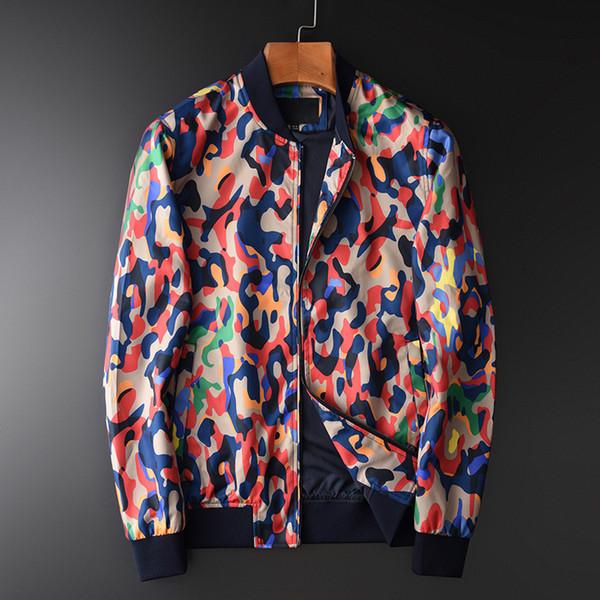Minglu béisbol collar chaquetas de los hombres de lujo Escudo de Impresión Digital de sarga Telas para hombre chaquetas y abrigos Delgado Otoño Fit hombres 4XL SH190925