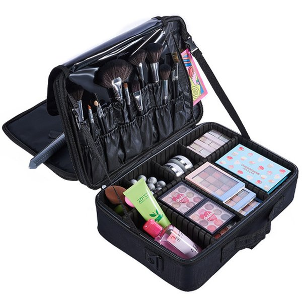 AIBKHK Brand Makeup Artist Professional Beauty Cosmetic Cases with Make Up Box Tattoo Nail Multilayer Toolbox Storage Bag Hot