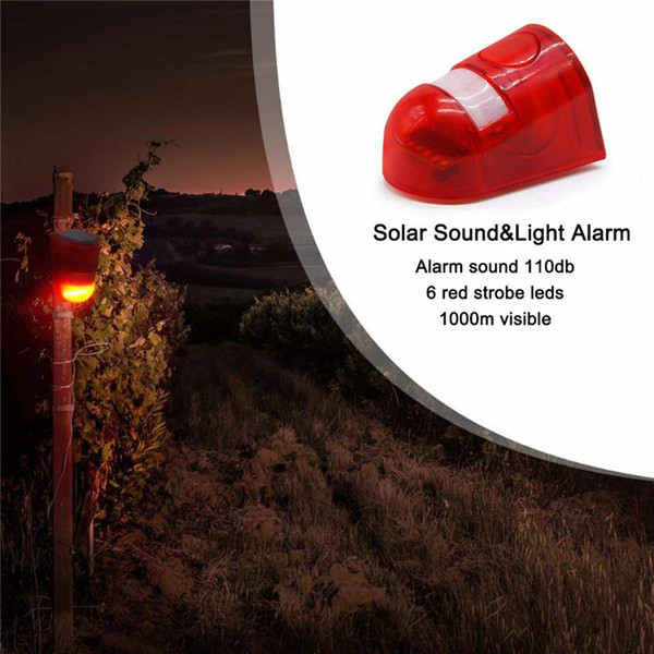 LED Solar Alarm Licht Außen Alarm Lampe 110db Warnton 6led Rotlicht IP65 Wasserdicht Bewegungssensor Achtung Lichter Wandleuchte