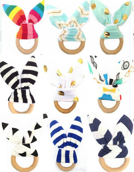 best selling Bunny Ear Infant Baby Teethers Teething Ring Fabric and Wood Nursing Teethers Crinkle Material Inside Sensory Toy Soothers 30 Styles