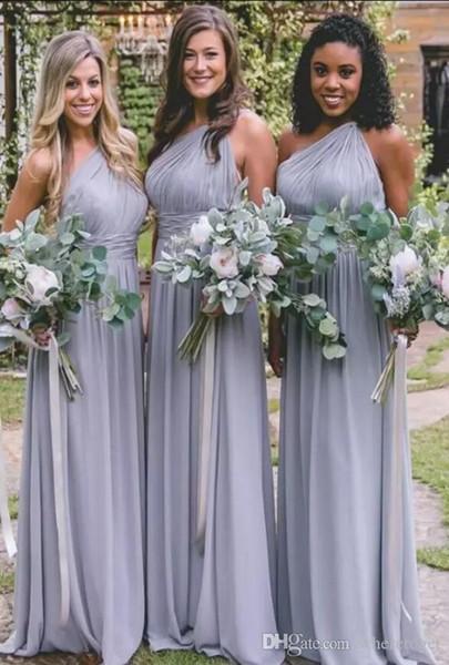 Empoeirados dama de honra vestidos azuis para casamentos elegante Chiffon de um ombro plissados Longo dama de honra Vestidos Plus Size vestido formal do partido