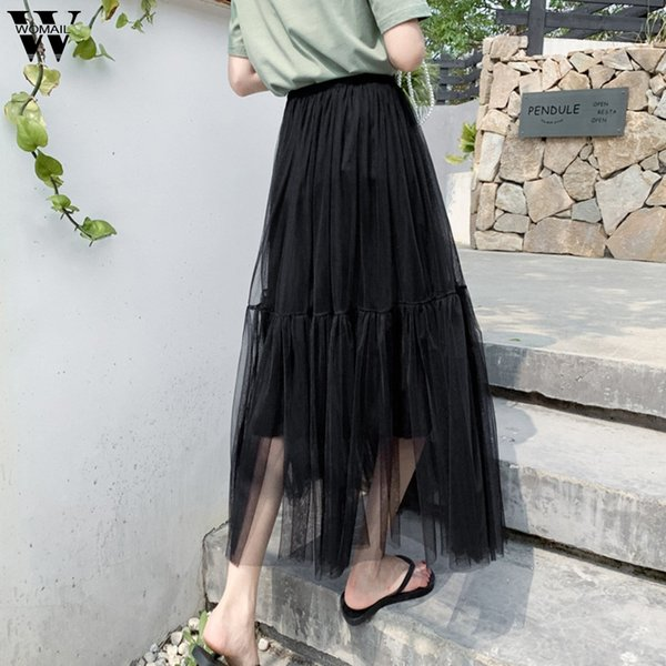 Womail Tulle Skirts Female Midi Pleated Skirt Black Pink Tulle Skirt 2019 Summer Korean Elastic High Waist Mesh Tutu M523