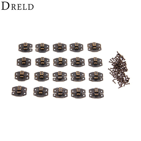top popular Hasps DRELD 20Pcs Antique Bronze Box Hasp Lock Catch Latches for Jewelry Box Suitcase Buckle Clip Clasp Furniture Hardware 24*19mm 2021