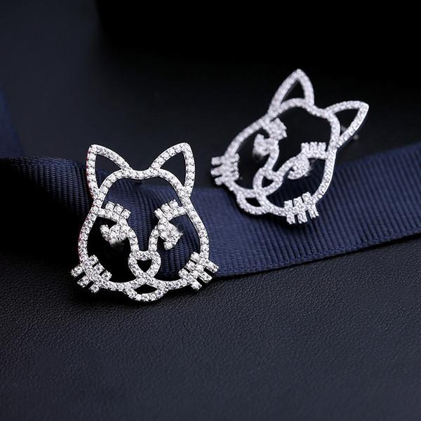 2019 nouvelle coréenne doux chat mignon incrusté zircon boucles d'oreilles tempérament dames mode tempérament simples boucles d'oreilles animaux bijoux accessoires