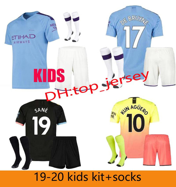 best selling 19 20 FC Manchester AGUERO MAHREZ JESUS DE BRUYNE MAN CITY soccer jersey kids kit 2019 2020 SANE boys football shirt uniforms sets+socks