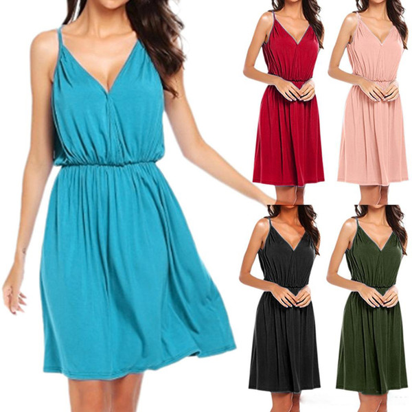 women summer dresses Slip Dress Women clothes plus size Elastic waistline Pure color V neck Hot selling China women clothing manufacture