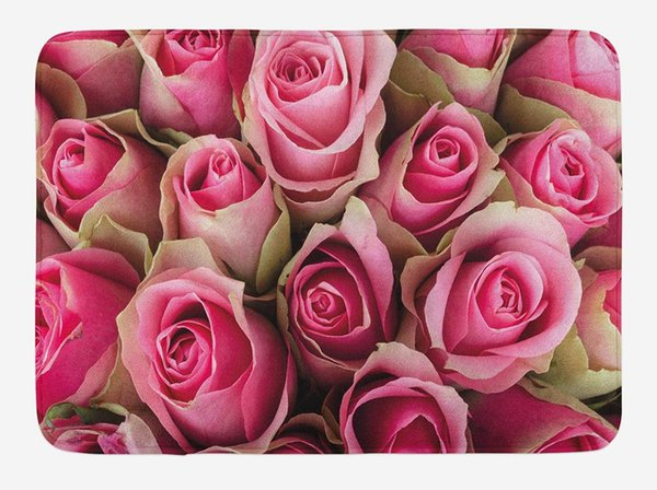 Rose Doormat Blooming Pink Roses Festive Bridal Bouquet Romance Sweetheart Love Valentines Home Decoration Door Floor Mat Rugs