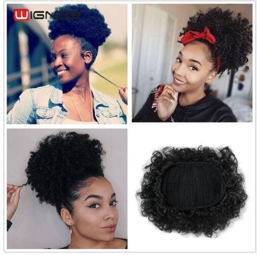 High Temperature Synthetic Fiber Curly Chignon