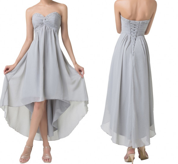 Short Front Long Back Evening Dresses Special Occasion A-Line Dresses High Low Prom Dresses Grey Party Formal Gowns DH1378