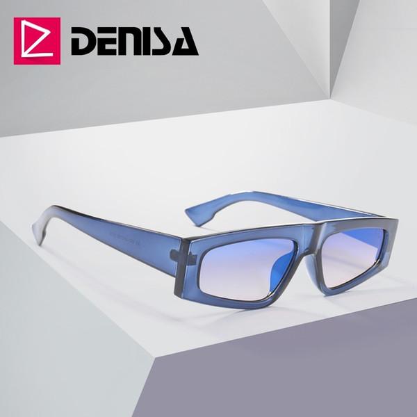 denisa 2019 blue rectangle mirror sunglasses men brand design sun glasses women uv400 vintage driver glasses g2025