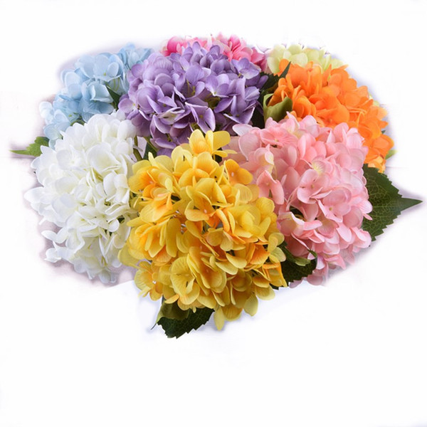 2019 Cheap Artificial Silk Hydrangea Flower Head 8 Colors For Wedding Party Home Table Decoration Flower LOL Wedding Products