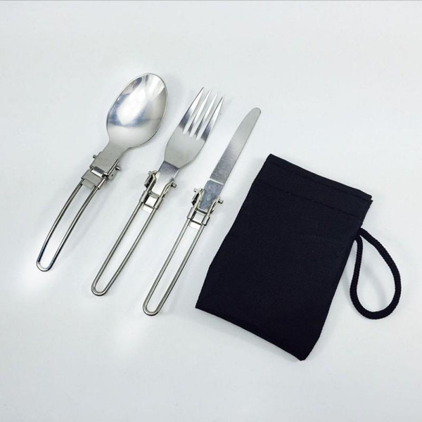 3 In 1 Foldable Outdoor Camping Picnic Tableware Tainless Steel Portable Spoon Fork Knife Suit Camp Kitchen
