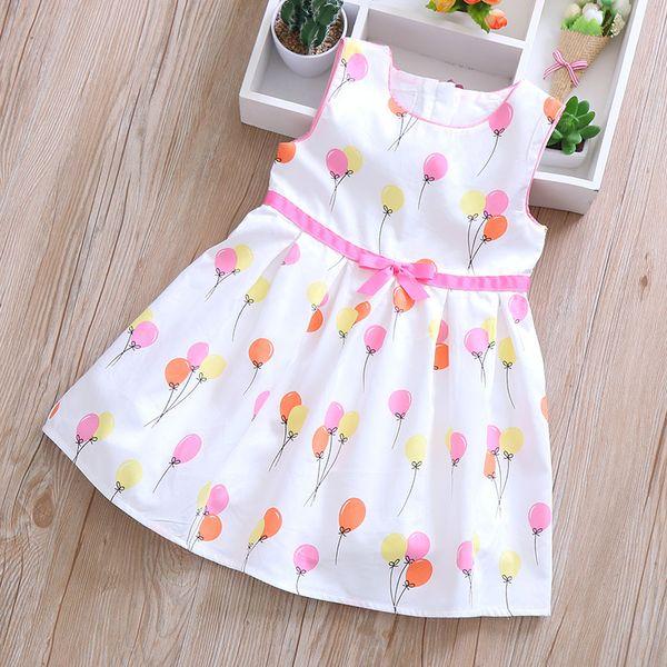 2019 nuevas niñas visten ropa de verano cómoda para niños sin mangas vestido de color globo globo falda falda princesa vestido
