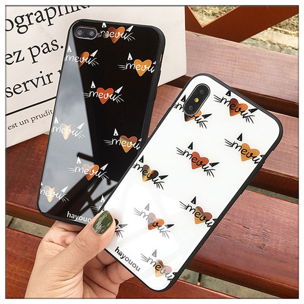 Lovers Slim Fit Hard Glass Anti-Scratch Back Phone Cover with Love-Hearts Pattern Protection Screen Phone Case for iPhone X