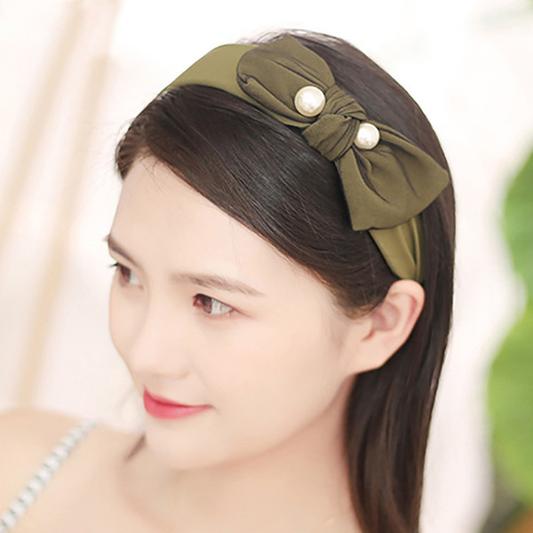 Mixed Colors Fashion Tied Hair Bows Headband Ladies Elegant Bowknot Pearl Hairband girls Korean Hair Accessories for Women