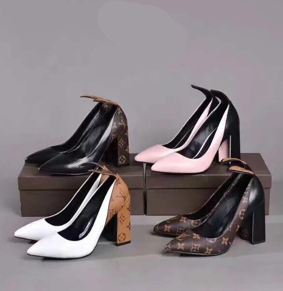 Zapatos de vestir de las mujeres de la nueva moda tacones gruesos zapatos de cuero de impresión zapatos casuales L33123