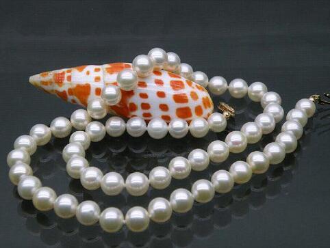 Perfeito 9-10mm branco akoya pearl necklace 18