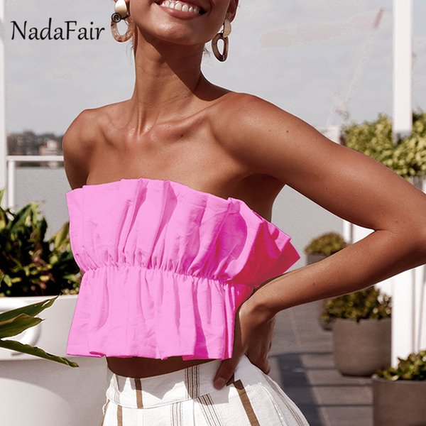 Nadafair ruffles sexy summer crop tops women ruched backless lace up strapless club sexy tops women clothes 2019 top femme