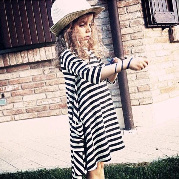 good quality Black White Striped Dress Casual Family Clothes Girls Dress Daughter Girls clothing