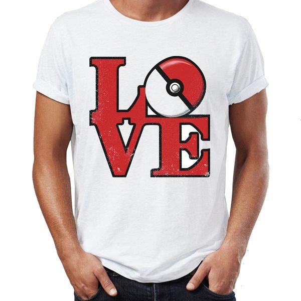 Camisa de T dos homens Eu amo Pokeball Funny Gaming Tee
