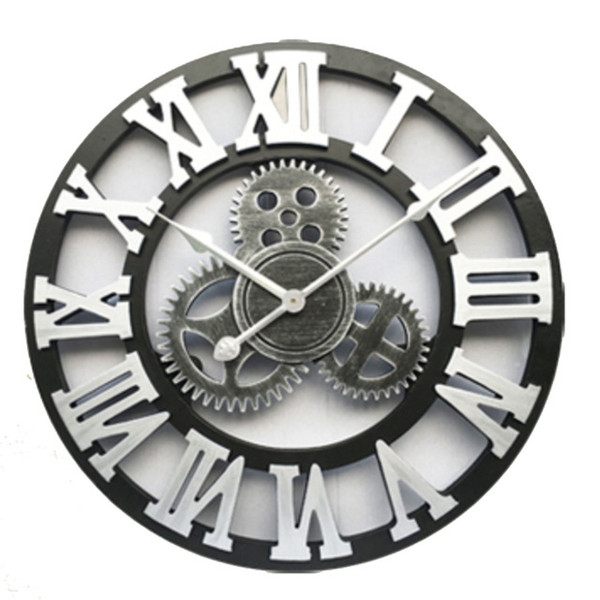 Gear Wooden Vintage Large Wall Clock on The Wall for Gift Oversized 3D Retro Rustic Decorative Luxury Art Big ZJ0456