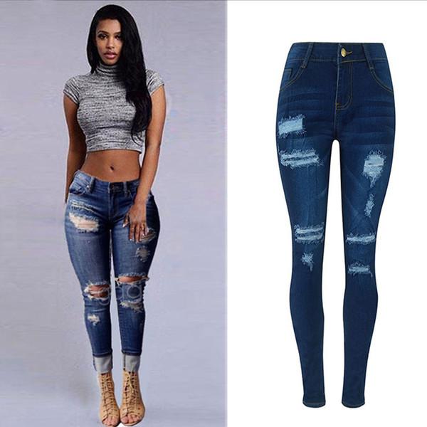 Nuevo patrón Moda orificios Pantalones Jeans Mujer Pantalones casuales Talla grande