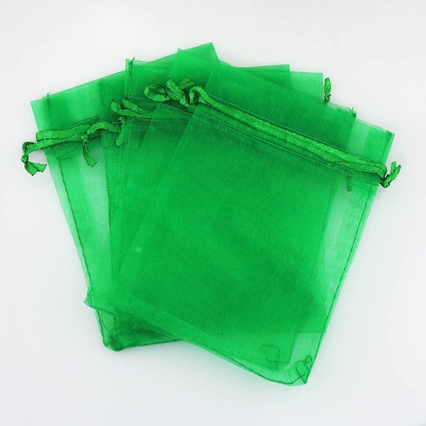 Free Shipping Drawstring Organza Bags 11x16cm 100pcs/lot Grass Green Candy Gift Jewelry Pouches For Woman Shopping Party Package