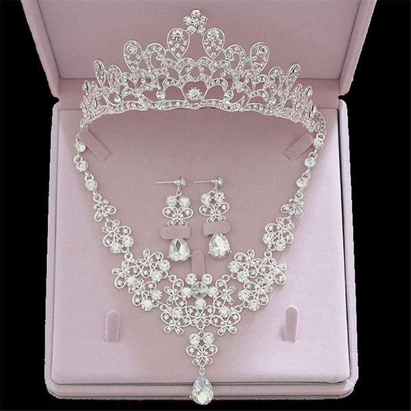 Luxury Crystal Rhinestone Crown Necklace Earring Jewelry Sets Bridal Tiara Necklaces Earrings Sets for Women Fashion
