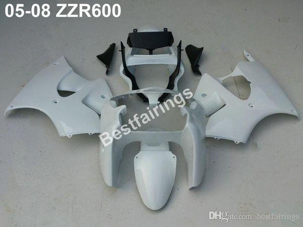 Injection plastic fairing kit for Kawasaki ZZR600 05 06 07 08 white black fairings set ZZR 600 2005-2008 ZV31