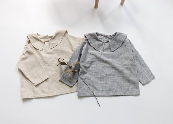 девушка детская одежда рубашка с длинным рукавом Pet Pan воротник в полоску дизайн рубашка весна осень девушка топ 100% хлопок одежда