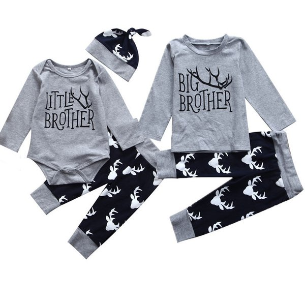 Pudcoco Boy Set US Stock Infant Baby Little Brother Romper Big T-shirt Top Matching Outfits