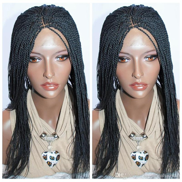 Cheap Natural Black Box Braided Lace Front Wigs with Baby Hair Synthetic Fiber Wigs Thick Full Hand Synthetic Hair Micro Havana Twist Wigs