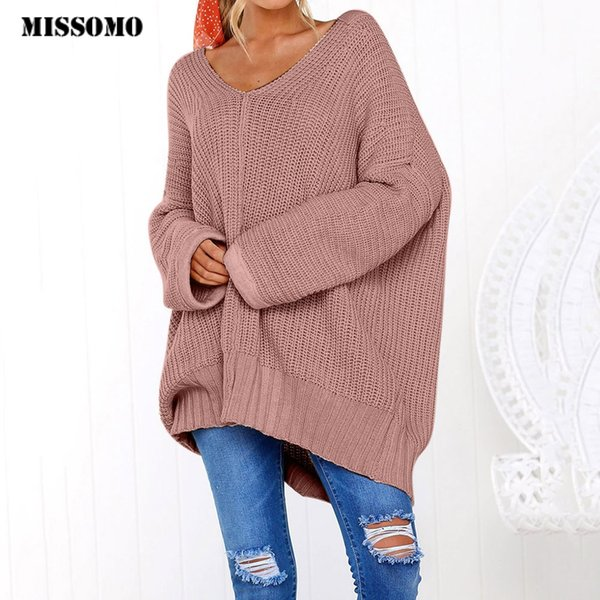 MISSOMO Women Casual Knitted Sweater long sweater hombre Long Sleeve Jumper V-Neck Ladies Tops Pullover Lazy Loose Oversized