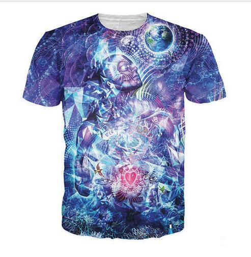 Nueva moda para hombre / mujer Trippy diseño gráfico estilo del verano Tees impresión 3d camiseta ocasional Tops más tamaño CHR0320