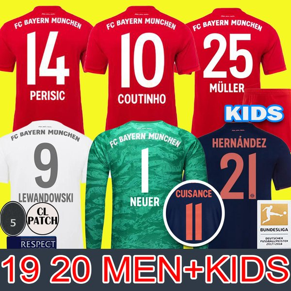 best selling MEN+KIDS 19 20 Bayern Soccer Jersey COUTINHO Munich PAVARD PERISIC 2019 2020 LEWANDOWSKI MULLER HERNANDEZ Football shirt Long uniform
